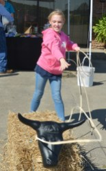 Sabie Conyers, of Jacksonville, Florida, throws a lasso over a plastic steer's head at the City/Farm Festival on Saturday. Conyers was visiting Danville with her family before heading to Lexington to watch the UK, Florida football game that evening. (Photo by Robin Hart)