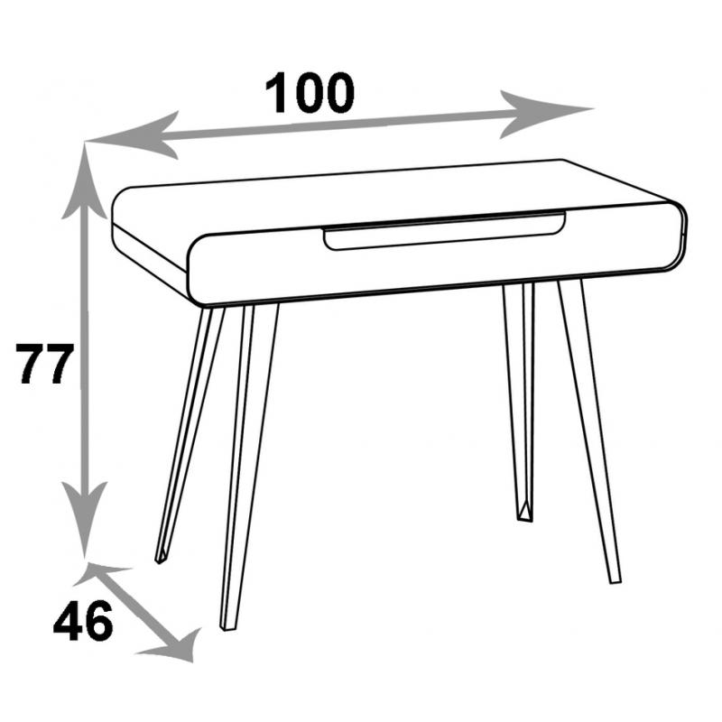 bureau console metal bois design