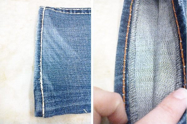 Finished hemmed jeans on top and inside