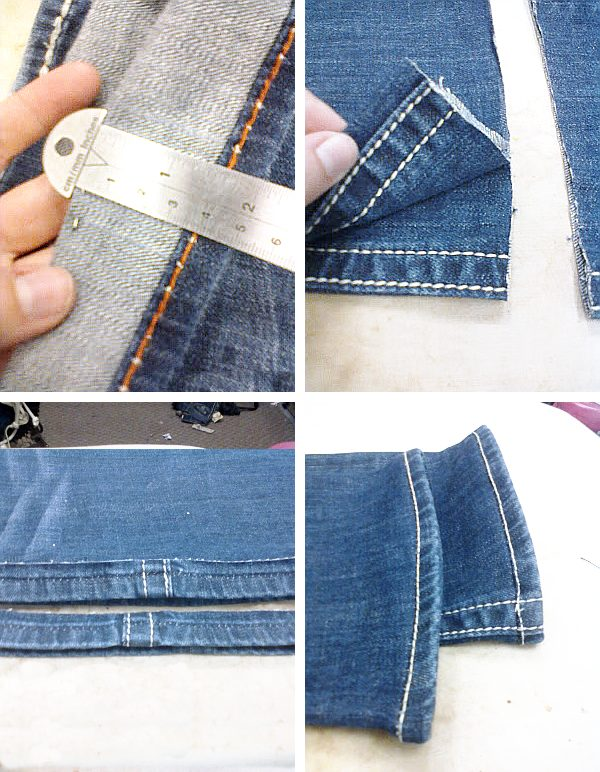 Step by step guide for hemming jeans