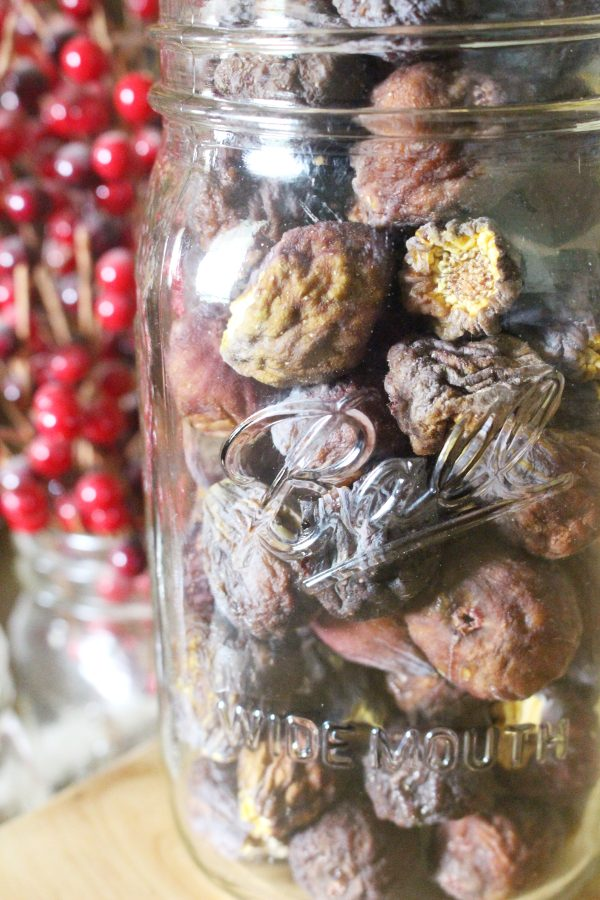 Whole dehydrated figs in a mason jar