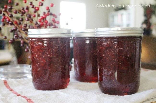 homemade strawberry jam canned in mason jars