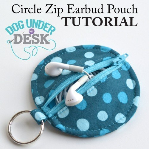 Earbud pouch made with fabric scraps