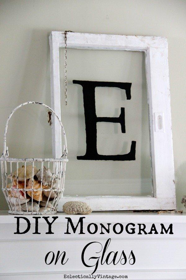 DIY Monogrammed window made from repurposed wooden window