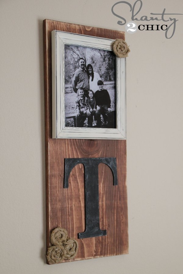DIY scrap wood picture frame with family initial