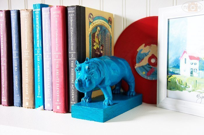 DIY bookends made from repurposed toy animals