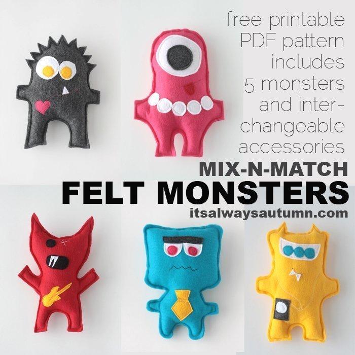 DIY felt monsters fun gift ideas for kids