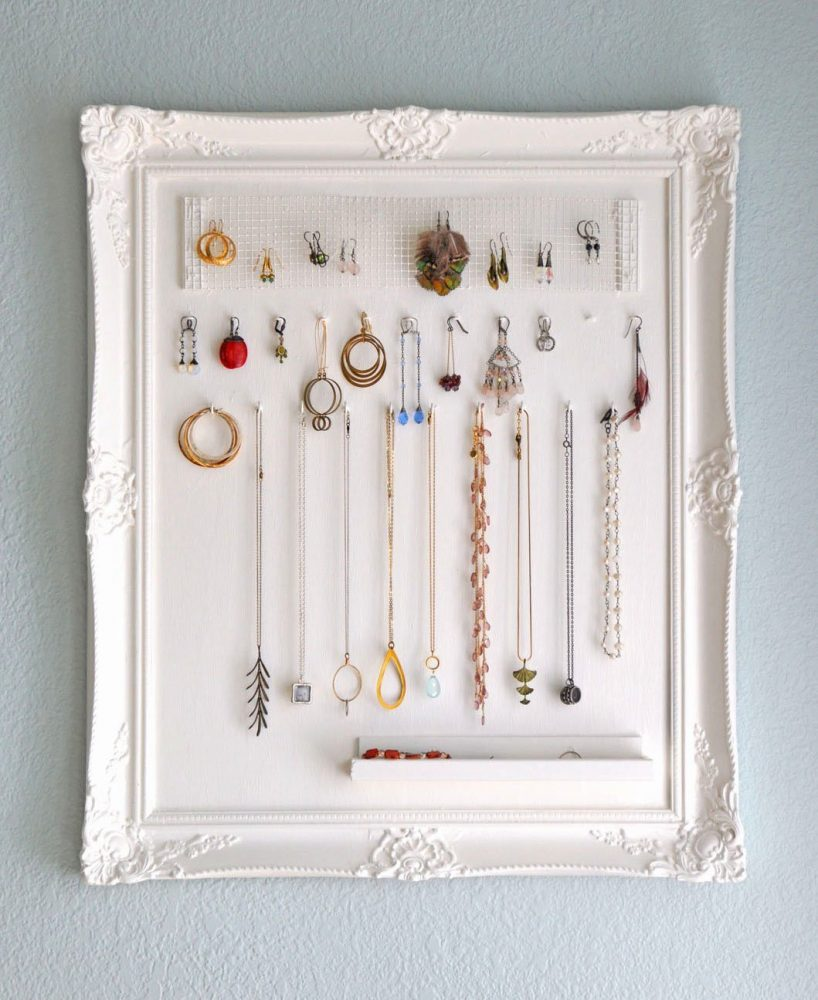 DIY Jewelry organizer made from picture frame