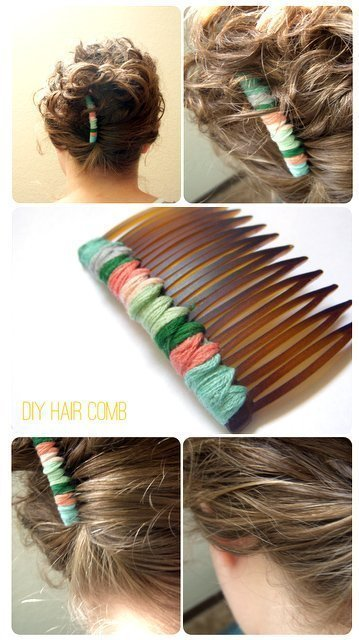 DIY embroidery floss hair combs made from repurposed items