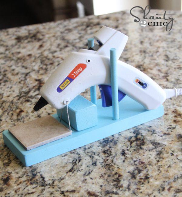 easy DIY hot glue gun holder with scrap wood