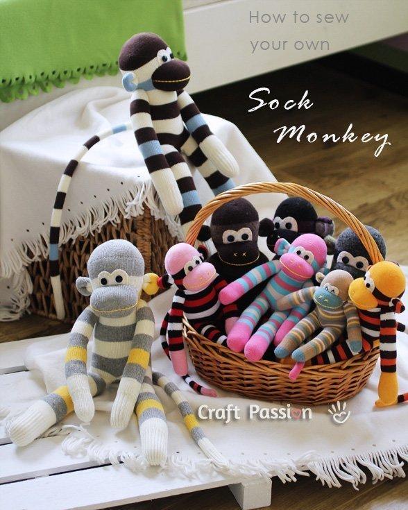DIY sock monkey from repurposed socks