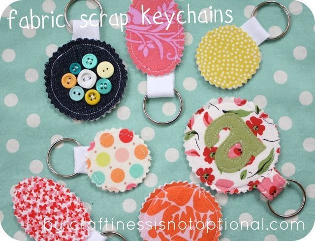 Scrap fabric keychain