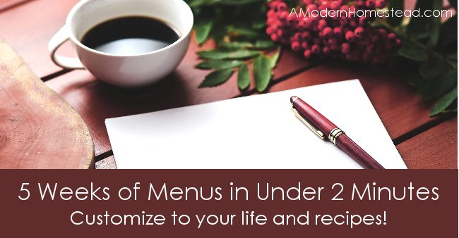 Plan 5 weeks worth of menus in under 2 minutes! Oh man, this tool is super easy to use and FREE! I love it!!