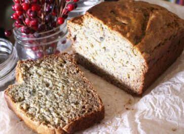 einkorn banana bread sliced on parchment