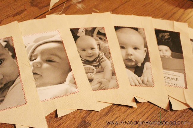 Easy photo banner using cardstock, canvas, and a little ribbon! This is so stinking cute! I can't wait to make one!