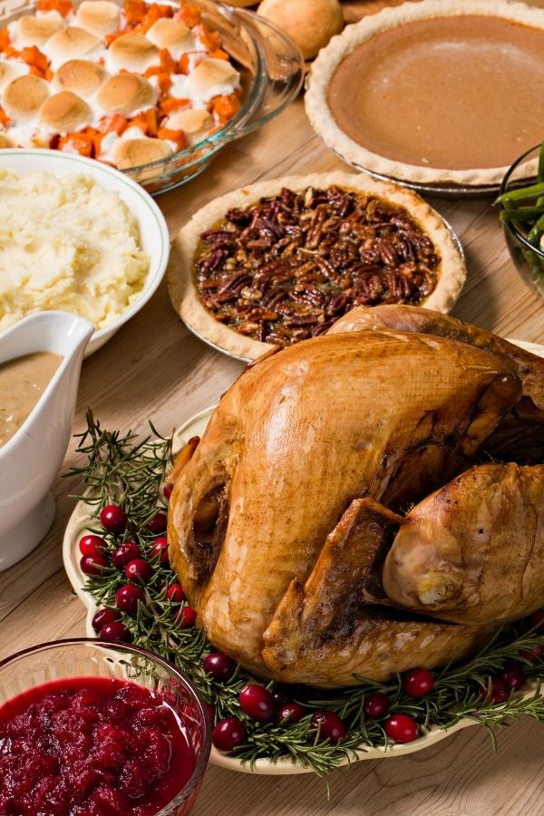 holiday meal spread with turkey, sides, desserts and more!