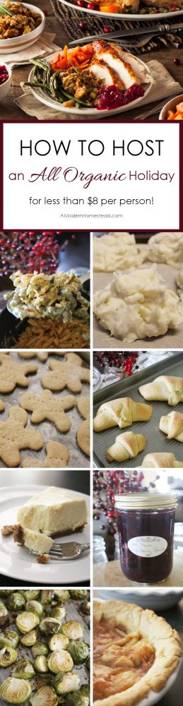 Find out how to host a fabulous holiday meal with all the trimmings for just $8 per person, with all organic ingredients!