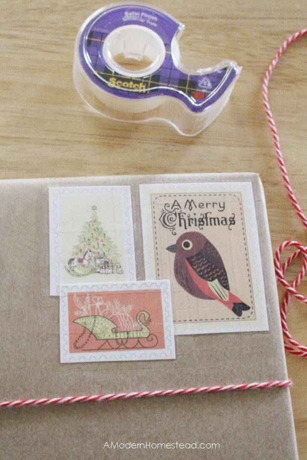 Placing stamps on DIY christmas gift wrapping job