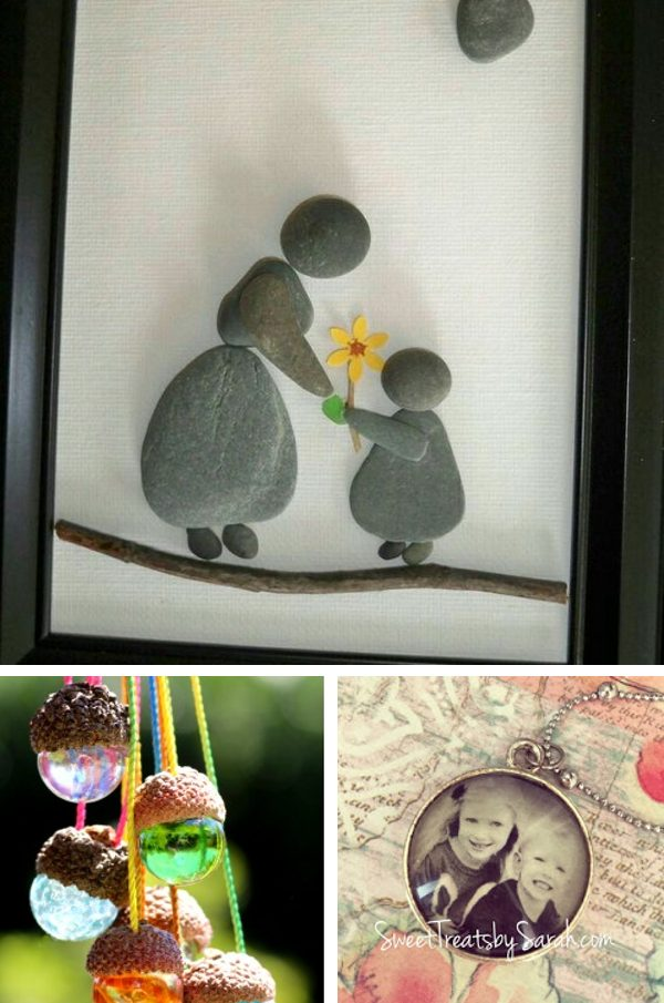 Photo collage showing artsy crafts, perfect for DIY gifts for mom. Rock art of a mom and child in a frame, acorn hat and marble necklaces, and vintage pendant style photo.