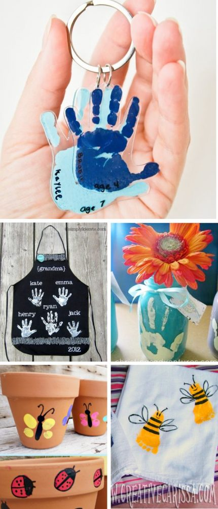 Photo collage showing handprint and footprint crafts perfect for DIY gifts for mom. Handprint keychain, handprint grandmother's apron with all the handprint from grandchildren, handprint mason jar vase, thumbprint terracotta pot, and footprint bumblebee dish towels.