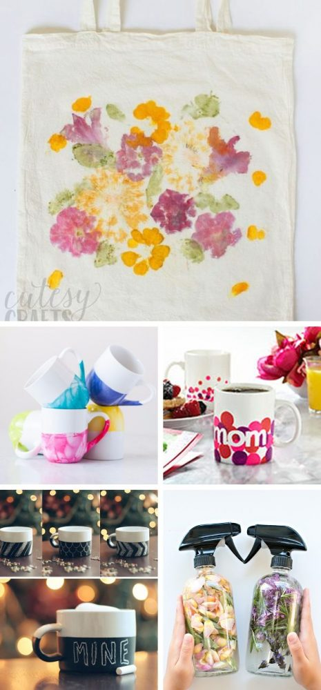 Photo collage showing gorgeous and functional crafts, perfect for DIY gifts for mom. Hammered flower canvas tote, marble dipped paint mugs, polka dot DIY mug, chalkboard coffee mug, and DIY floral herb perfume.