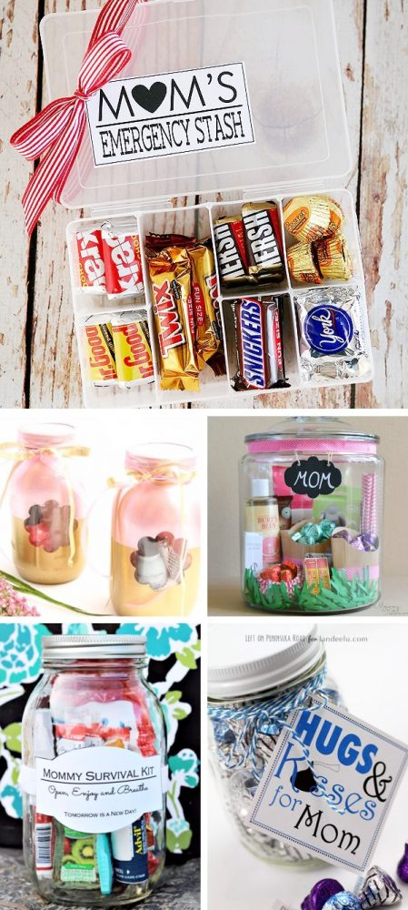 Photo collage showing filled mason jar crafts perfect for DIY gifts for mom. Emergency chocolate stash, spa in a jar, pedicure in a jar, mommy survival kit, and hugs and kisses candy in a jar with free printable tag.