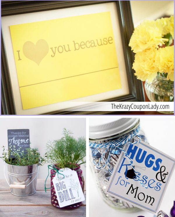 Photo collage showing printable gifts, perfect for DIY gifts for mom.