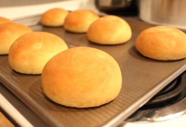 Fresh einkorn hamburger buns on a baking sheet