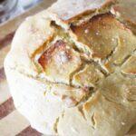 Easy no knead sourdough bread recipe using einkorn flour