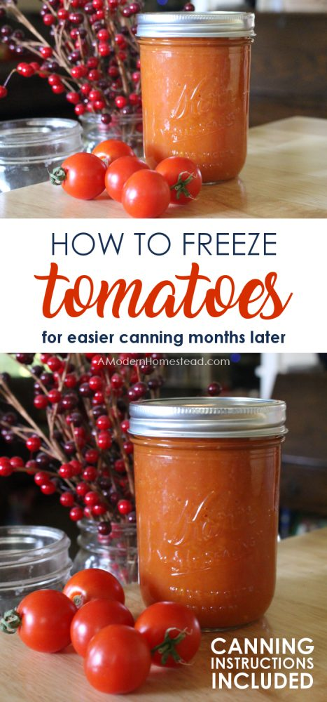Canning tomatoes is the height of the summer garden experience. But it can also be overwhelming when you're faced with canning hundreds of pounds before they go bad! Find out the easy trick for freezing them so you are able to process them at your leisure!