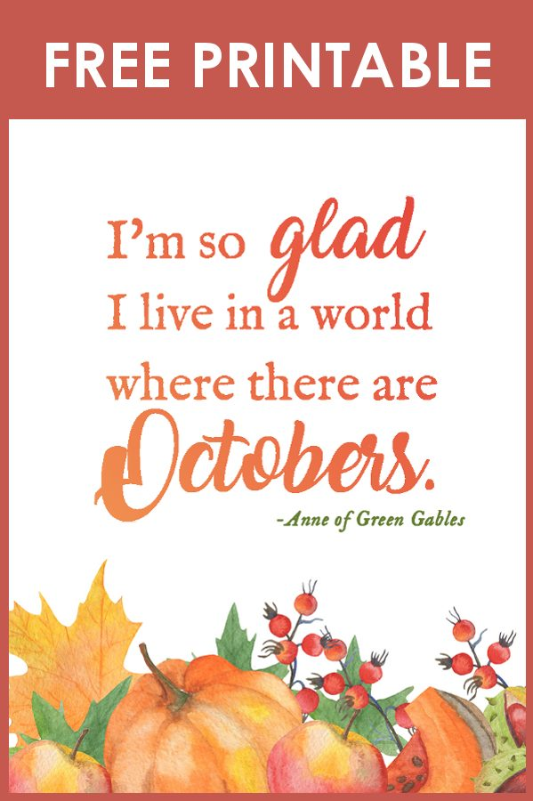 Free Fall Decor Printable Anne of Green Gables Quote