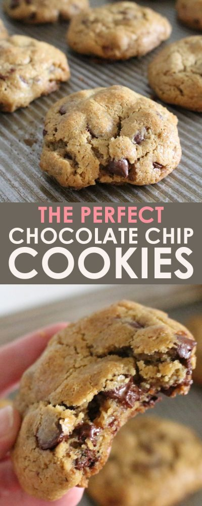 Image collage of 2 images; 1 image is a close up of whole chocolate chip cookies on a metal baking sheet. The other image is of a woman's hand holding a chocolate chip cookie with a large bite missing. You can see the melted chocolate dripped out from the bitten edge of the warm cookie.