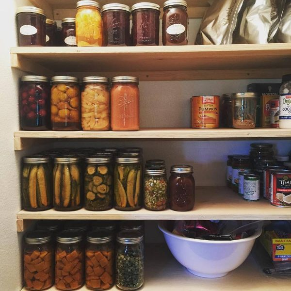New pantry shelves spaced for canning jars