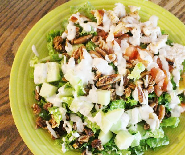 Summer salad with homemade ranch dressing