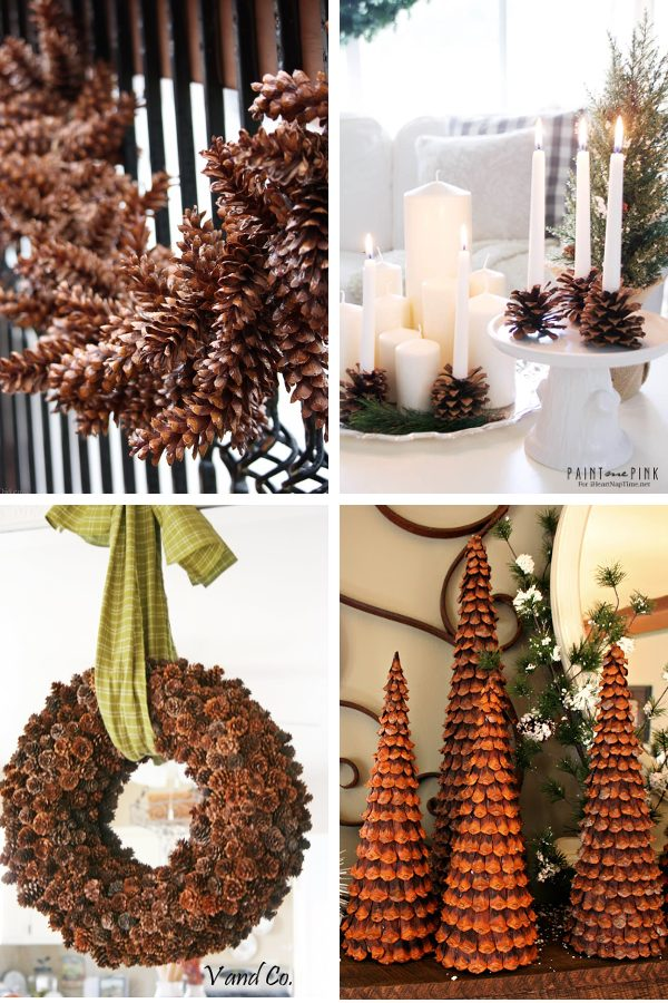 Pinecone wreath, pine cone garland, pinecone candle holder, and pine cone trees