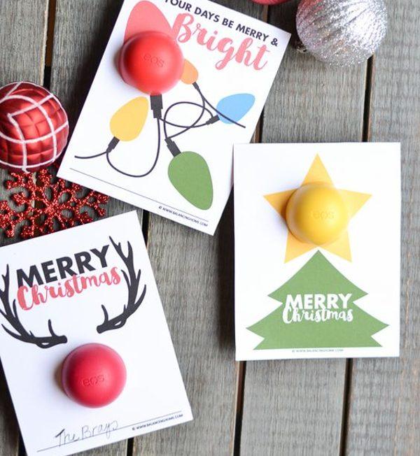 printable christmas gift idea - DIY lip balm gift card