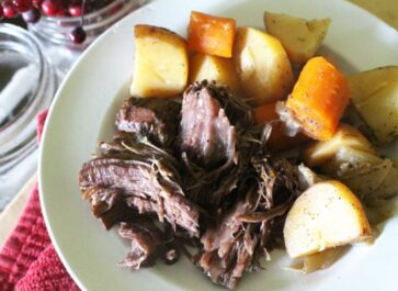 finished pot roast and vegetables on a plate