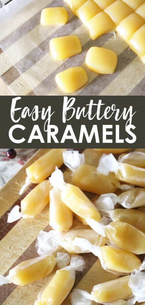 Caramel candy recipe on counter and wrapped in wax paper
