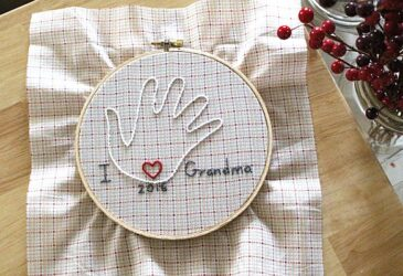 Finished hand embroidery project gift for mothers and grandmothers