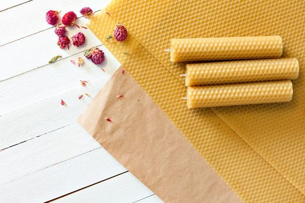 beeswax sheets on parchment paper