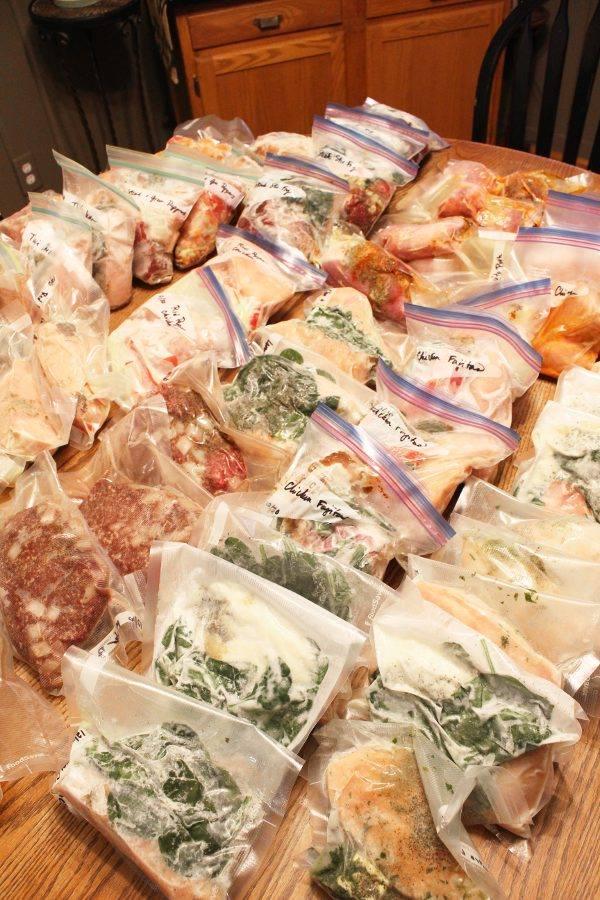 bulk keto crockpot freezer meals in bags on a table