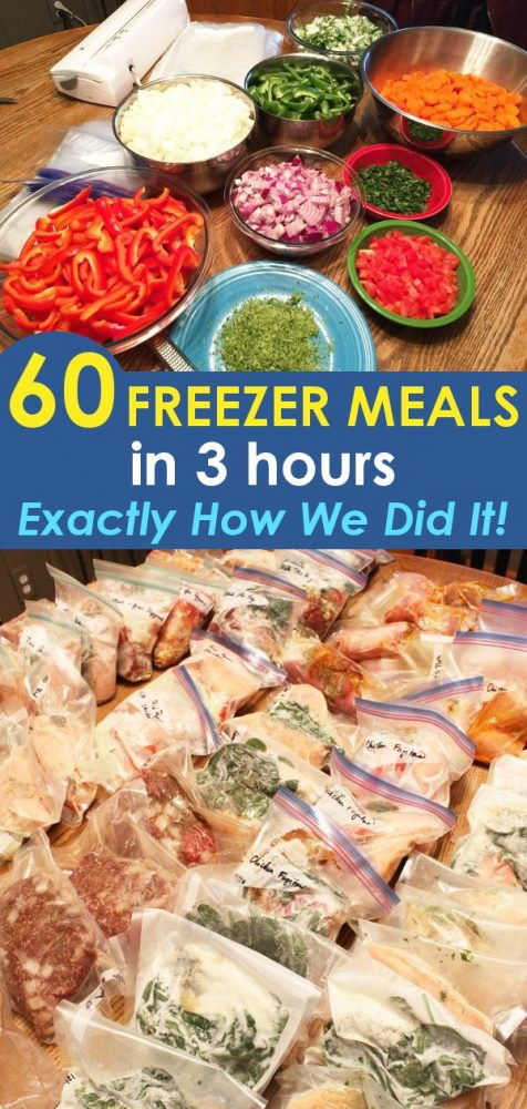 bulk crockpot freezer meals in bags on a table