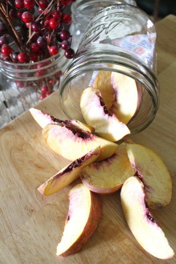 Freeze dried peaches in a mason jar
