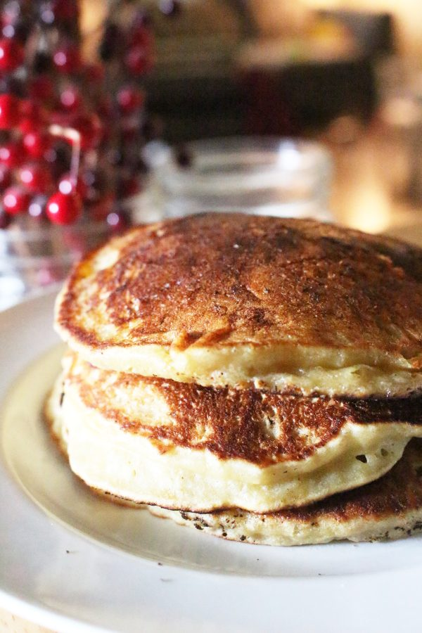 stack of banana bread pancakes