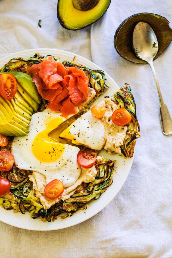 Zucchini breakfast pizza