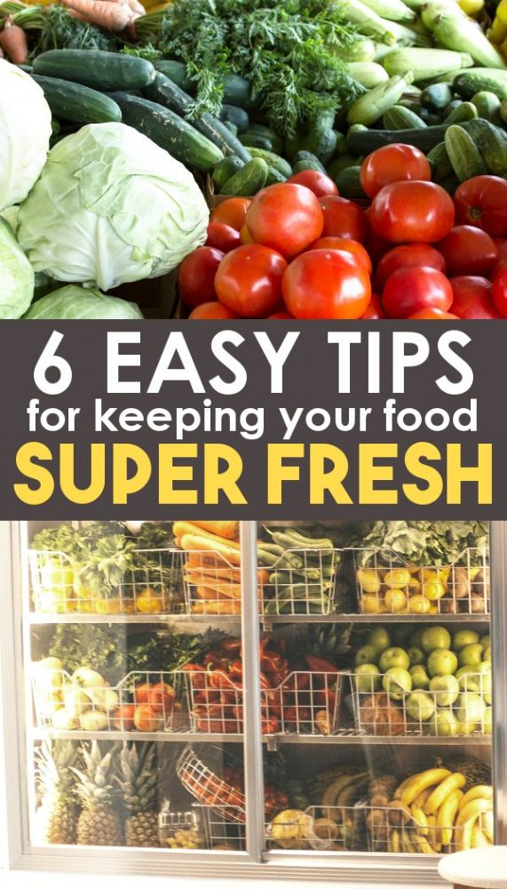 Fresh produce in fridge and on counter
