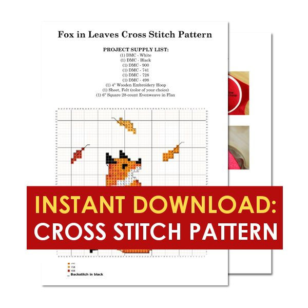 Fox in leaves fall cross stitch pattern