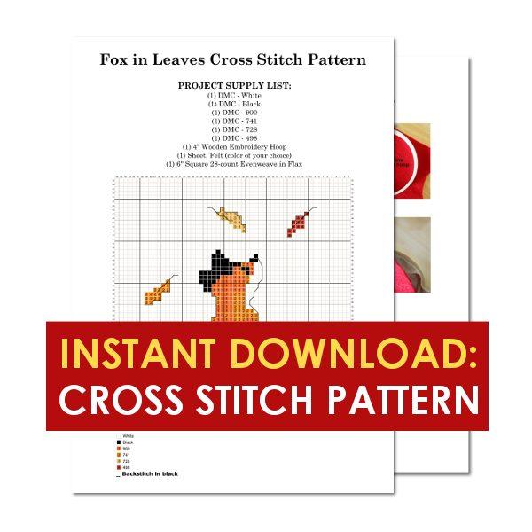 Fox in leaves fall cross stitch pattern