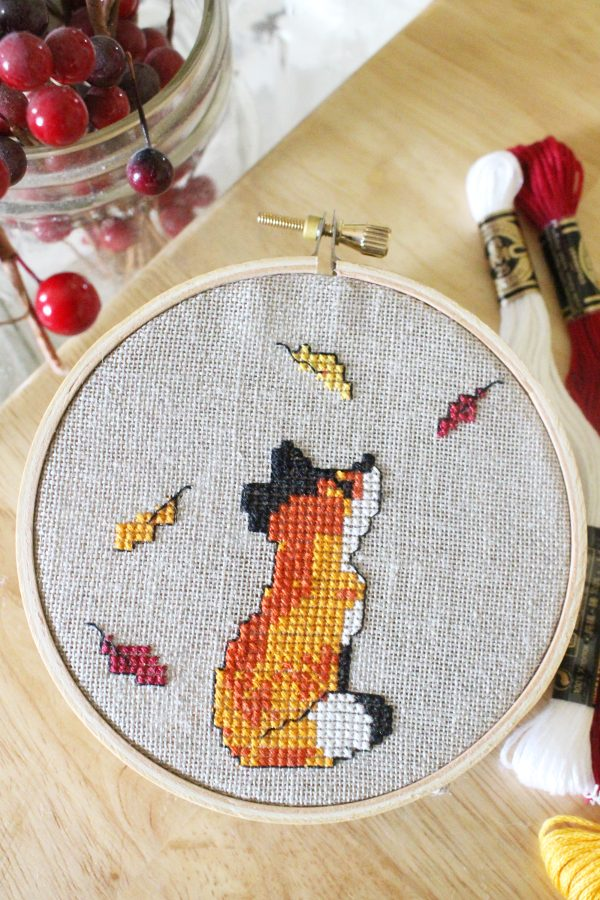 fall cross stitch patterns with a fox in leaves