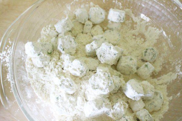 breaded okra before frying